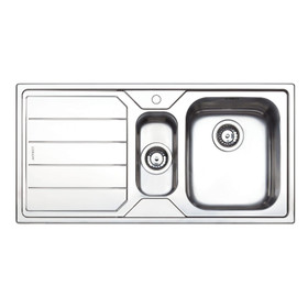 Clearwater Linear 1.5 Bowl Left Handed Brushed Stainless Steel Kitchen Sink