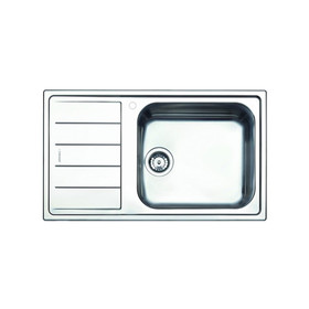 Clearwater Linear 1 Bowl Left Handed Modern Brushed Stainless Steel Kitchen Sink