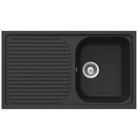 Schock Lithos D100 1.0 Bowl Reversible Onyx Black Granite Kitchen Sink & Waste