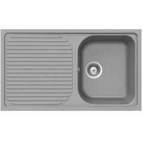 Schock Lithos D100 1.0 Bowl Reversible Croma Grey Granite Kitchen Sink &Waste