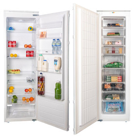 SIA 54cm White Built-in Integrated Tall Freezer & Larder Fridge Twin Pack