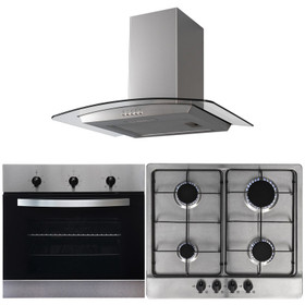 SIA 60cm Single Electric Fan Oven, 4 Burner Gas Hob &Curved Glass Cooker Hood