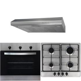 SIA 60cm Electric Stainless Steel Fan Oven, 4 Burner Gas Hob & Visor Cooker Hood