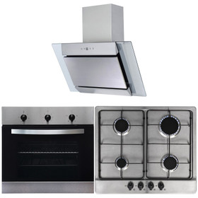 SIA 60cm Single Electric Fan Oven, 4 Burner Gas Hob & Angled Chimney Cooker Hood
