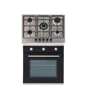 SIA 60cm Black Single Electric Fan Oven & 70cm Stainless Steel 5 Burner Gas Hob