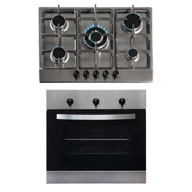 SIA 60cm Stainless Steel Single Electric True Fan Oven And 70cm 5 Burner Gas Hob