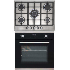 SIA 60cm Black Touch Control Fan Oven And Stainless Steel 70cm 5 Burner Gas Hob