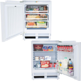 SIA Built In White Integrated Under Counter Fridge And Freezer Twin Pack