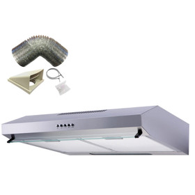 SIA VSR60SS 60cm Stainless Steel Visor Cooker Hood Extractor Fan And 1m Ducting