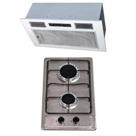 SIA 30cm Domino Stainless Steel 2 Burner Gas Hob And 52cm Canopy Cooker Hood Fan