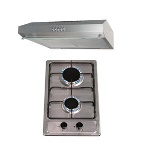 SIA 30cm Stainless Steel 2 Burner Gas Hob & 60cm Cooker Hood Visor Extractor Fan