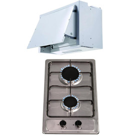 SIA 30cm Domino Stainless Steel 2 Burner Gas Hob & 60cm Integrated Extractor Fan