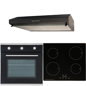 SIA 60cm Black Electric Single Oven, 4 Zone Induction Hob & Cooker Hood Visor