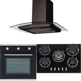 SIA 60cm Black Single Electric Fan Oven, 70cm Gas On Glass Hob And Curved Hood