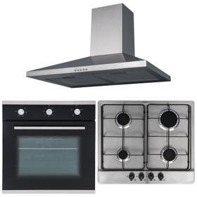 SIA 60cm Single Fan Oven, 4 Burner Stainless Steel Hob And Chimney Cooker Hood