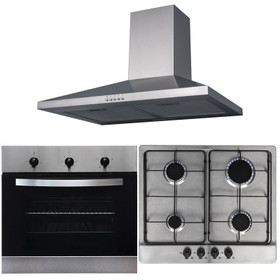 SIA 60cm Electric Stainless Steel True Fan Oven, 4 Burner Gas Hob & Cooker Hood