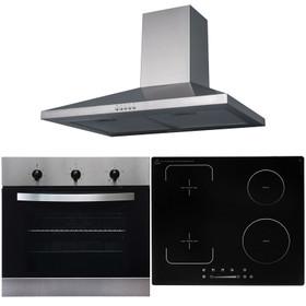 SIA 60cm Stainless Steel Single Oven, Flexi-Bridge Induction Hob & Cooker Hood