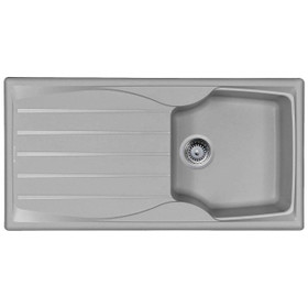 Light Grey 1.0 Bowl Kitchen Sink With Reversible Drainer And Strainer Waste Kit