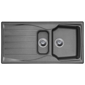 Graphite Grey 1.5 Bowl Kitchen Sink With Reversible Drainer And Strainer Waste