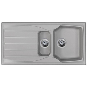 Light Grey 1.5 Bowl Kitchen Sink With Reversible Drainer And Strainer Waste Kit