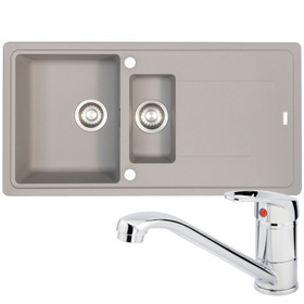 Franke Gemini 1.5 Bowl Grey Tectonite Reversible Kitchen Sink And Zeno Mixer Tap