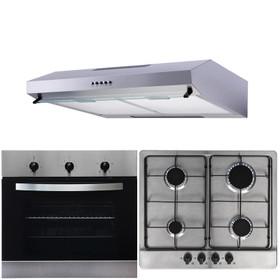 SIA 60cm Electric Fan Oven, Stainless Steel 4 Burner Gas Hob & Cooker Hood Visor