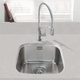 SIA 1.0 Bowl Undermount Stainless Steel Kitchen Sink With Waste Kit W380xD440mm