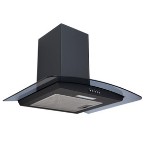 SIA CGHS60BL 60cm Curved Black Glass Cooker Hood Kitchen Extractor Fan