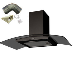 SIA CGHS90BL 90cm Black Smoked Curved Glass Cooker Hood Extractor And 1m Ducting