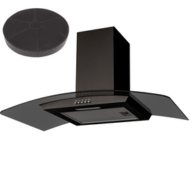 SIA CGHS90BL 90cm Black Smoked Curved Glass Cooker Hood Extractor Fan And Filter