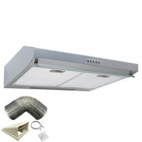 SIA STH50SI 50cm Silver Slimline Visor Cooker Hood Extractor Fan and 3m Ducting