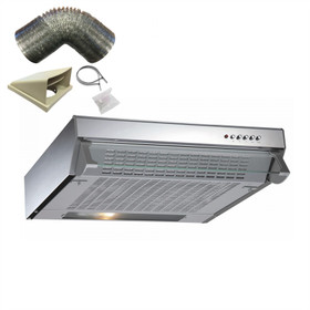 CDA CST61SS 60cm Stainless Steel Visor Cooker Hood Extractor Fan & 1m Ducting