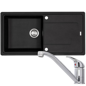 Franke Gemini 1.0 Bowl Black Reversible Kitchen Sink & CDA TC10 Chrome Mixer Tap