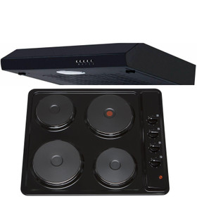 SIA 60cm Black 4 Zone Solid Plate Hob & Slimline Visor Cooker Hood Extractor Fan