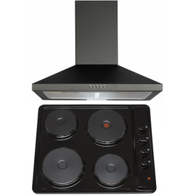 SIA 60cm Black 4 Zone Solid Plate Hob And Chimney Cooker Hood Kitchen Extractor