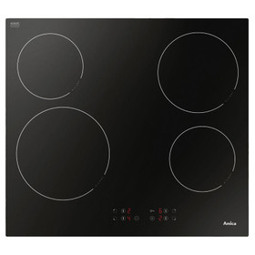 AMICA ACH6420FR 60CM Frameless Four Zone Black Glass Front Control Ceramic Hob