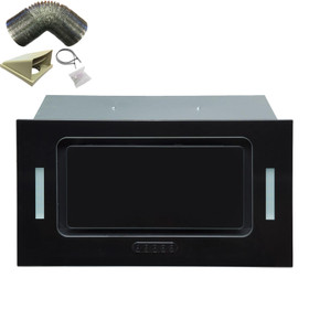 SIA UCG52BL 52cm Black Glass Built In Cupboard Cooker Hood Extractor +3m Ducting
