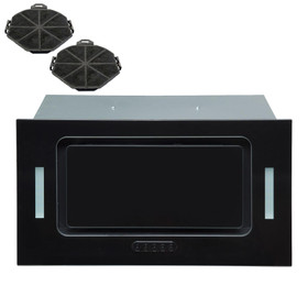 SIA UCG52BL 52cm Black Glass Built In Cupboard Cooker Hood Fan Extractor +Filter