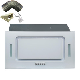 SIA UCG52WH 52cm White Glass Built In Cupboard Cooker Hood Extractor +1m Ducting