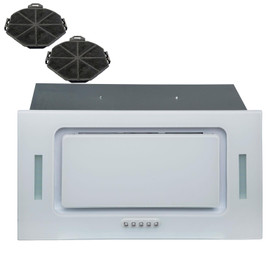 SIA UCG52WH 52cm White Glass Built In Cupboard Cooker Hood Fan Extractor +Filter