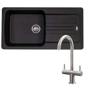 Franke Aveta 1 Bowl Black Tectonite Kitchen Sink & Brushed Nickel Twin Mixer Tap