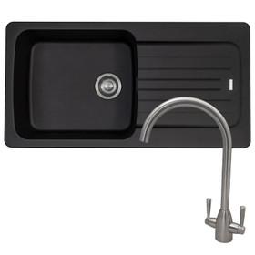 Franke Aveta 1 Bowl Black Tectonite Sink & Contemporary Brushed Nickel Mixer Tap