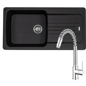 Franke Aveta 1 Bowl Black Tectonite Kitchen Sink & Pullout Chrome Mixer Tap