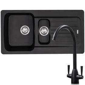Franke Aveta 1.5 Bowl Black Tectonite Kitchen Sink & Black Mixer Tap