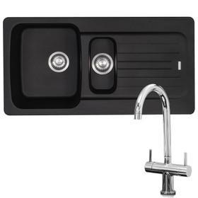 Franke Aveta 1.5 Bowl Black Tectonite Kitchen Sink & Chrome Twin Mixer Tap