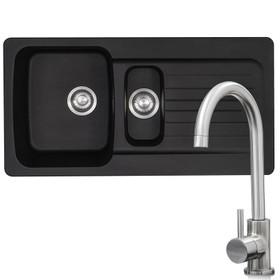 Franke Aveta 1.5 Bowl Black Tectonite Sink & Modern Brushed Nickel Mixer Tap