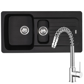 Franke Aveta 1.5 Bowl Black Tectonite Sink & Pullout Spray Chrome Mixer Tap