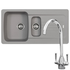 Franke Aveta 1.5 Bowl Stone Tectonite Kitchen Sink & Chrome Mixer Tap