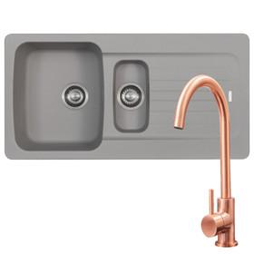 Franke Aveta 1.5 Bowl Stone Tectonite Kitchen Sink & Modern Copper Mixer Tap