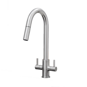 SIA KT4BN Brushed Nickel Pull Out Spray Twin Monobloc Kitchen Sink Mixer Tap